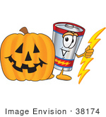 #38174 Clip Art Graphic Of A Battery Mascot Character With A Carved Halloween Pumpkin