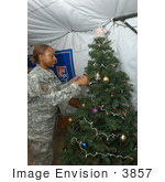 #3857 Army Sgt Decorating Christmas Tree