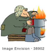 #38902 Clip Art Graphic Of A Hungry Homeless Man Eating A Can Of Beans