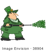 #38904 Clip Art Graphic Of A Leprechaun Power Washing With Clovers