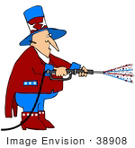 #38908 Clip Art Graphic Of Uncle Sam Using A Pressure Washer