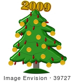 #39727 Clip Art Graphic Of A Christmas Tree Topped With The New Year