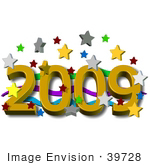 #39728 Clip Art Graphic of Colorful Stars Falling Around the New Year of 2009 by DJArt