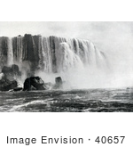 #40657 Stock Photo Of Horseshoe Or Canadian Falls Niagara Falls With Water Of The Niagara River Rushing Down Off The Cliff