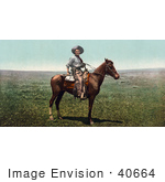 #40664 Stock Photo Of A Friendly Cowboy Pausing On Horseback In A Pasture