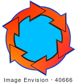 #40666 Clip Art Graphic Of Red And Orange Arrows Circling Around Blue