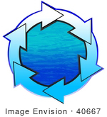 #40667 Clip Art Graphic Of White And Blue Arrows Circling Around Blue Water