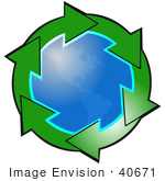 #40671 Clip Art Graphic Of Green Arrows Circling The American Continents On Planet Earth