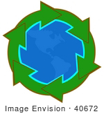 #40672 Clip Art Graphic Of Green Arrows Around The American Continents On Planet Earth