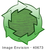 #40673 Clip Art Graphic Of Gradient Green Arrows Circling Green Rippling Water