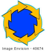 #40674 Clip Art Graphic Of Yellow Arrows Circling Around A Blue Center