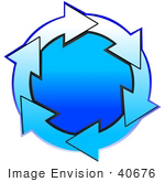 #40676 Clip Art Graphic Of Gradient Blue And White Arrows Circling A Gradient Blue Center