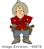 #40678 Clip Art Graphic Of A Cowboy Licking His Lips Ready To Pull His Pistils