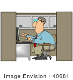 #40681 Clip Art Graphic Of A Male Caucasian Office Worker Using A Computer In A Cubicle