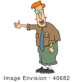 #40682 Clip Art Graphic Of A Nerdy Caucasian Man With A Gold Tooth Complaining And Gesturing