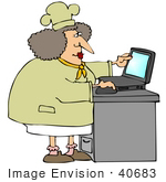 #40683 Clip Art Graphic Of A Female Caucasian Chef Using A Laptop In A Kitchen