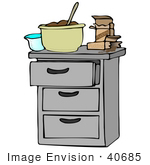#40685 Clip Art Graphic Of A Kitchen Island With Pudding In A Mixing Bowl