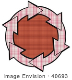 #40693 Clip Art Graphic Of Pink Plaid Arrows Circling A Red Plaid Center