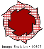 #40697 Clip Art Graphic Of Red And White Plaid Arrows Circling A Solid Red Center