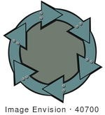 #40700 Clip Art Graphic Of Metal Teal Arrows With Bolts Circling A Textured Green Center