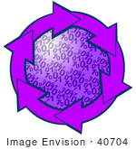 #40704 Clip Art Graphic Of Purple Arrows Circling A Binary Coding Center