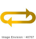 #40707 Clip Art Graphic Of Gradient Light And Dark Yellow Arrows Circling In An Oval In A Clockwise Motion