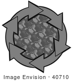 #40710 Clip Art Graphic Of Gray Arrows Circling A Patterned Center