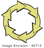 #40713 Clip Art Graphic Of Yellow Lined Notebook Paper Arrows Around A White Center