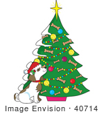 #40714 Clip Art Graphic Of A Dog By A Christmas Tree With Doggy Biscuits And Ornaments