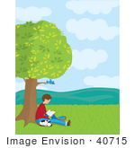 #40715 Clip Art Graphic of a Caucasian Boy Seated Under a Tree With His Dog, Reading a Book, Birds Looking Down by Maria Bell