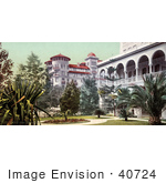 #40724 Stock Photo Of The Yard And Building Of Hotel Green In Pasadena California