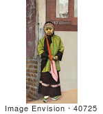 #40725 Stock Photo Of A Young Chinese Girl Standing At The Corner Of A Building