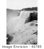 #40785 Stock Photo Of A View Of The Bridge At American Falls Niagara Falls As Seen From Goat Island New York