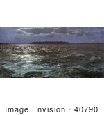 #40790 Stock Photo Of Choppy Waters In The Moon Light At Coteau Rapids On The Saint Lawrence River Canada