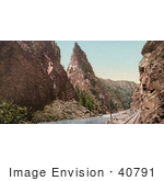 #40791 Stock Photo Of A Railroad Along Gunnison River At Curecanti Needle In Black Canyon Colorado