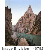 #40792 Stock Photo Of A Railroad Winding On The Gunnison Riverside By Curecanti Needle In Black Canyon Colorado
