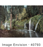 #40793 Stock Photo Of Water From The Sacramento River Flowing Over Green Ledges In A Forest Mossbrae Falls California