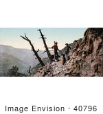 #40796 Stock Photo Of Three Miner'S Blacksmiths Standing High Up On A Mountainside Colorado