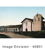 #40801 Stock Photo Of The Historical Santa Inez Mission Church And Belfry In Solvang California