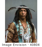 #40804 Stock Photo Of An Portrait Of An Ojibwa Native American Indian Brave Man Known As Arrowmaker 1903