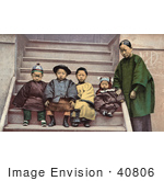 #40806 Stock Photo Of A Family Of Chinese American Immigrants Sitting On Steps Of A Building California