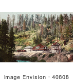 #40808 Stock Photo Of The Spring House Train Station Along The River In Shasta Springs California