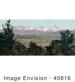 #40816 Stock Photo Of Green Trees Framing A Landscape With Snow Covered Mount Sneffels Range In The Rocky Mountains Colorado