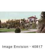 #40817 Stock Photo Of A Large Beautiful Home And Landscaping On Orange Grove Avenue In Pasadena California