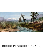 #40820 Stock Photo Of A Horse Drawn Wagon By A Creek In Estes Park Colorado With A View Of Upsilon Peak In The Distance