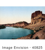 #40825 Stock Photo Of A Curve In The Green River Lined With Bluffs Utah