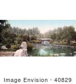 #40829 Stock Photo Of A Foot Bridge Over A Pond In East Side Park Los Angeles California