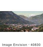 #40830 Stock Photo Of A View Of The City Of Manitou Springs Colorado With The Rocky Mountains In The Distance