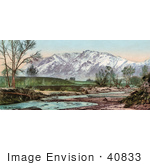 #40833 Stock Photo Of A View Of A Creek And Green Pastures Near Cheyenne Mountain Colorado