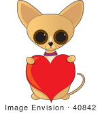 #40842 Clip Art Graphic Of A Caring Chihuahua Puppy Holding Up A Red Valentine Heart